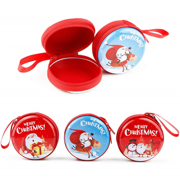 22 Design Christmas Coin Purse Mini Wallet Portable Waterproof Cute Purse Gift Candy Key Pouch Bag Headset Case Christmas Tree Ornament