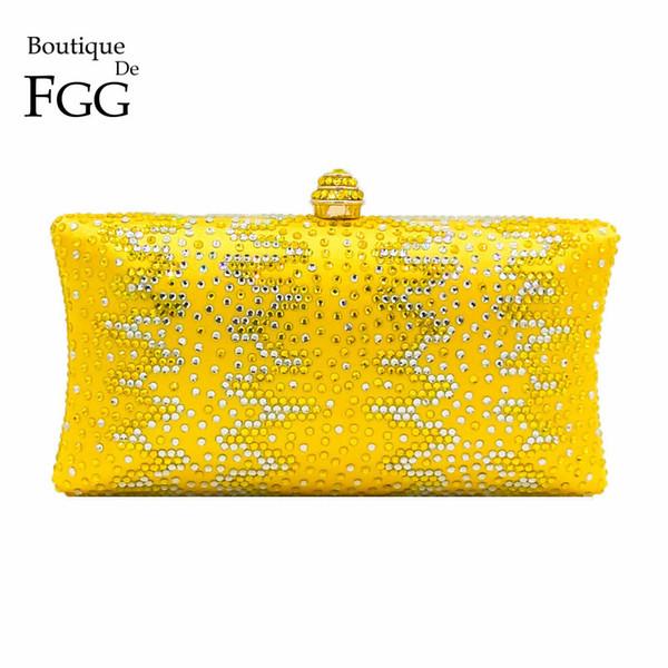 Boutique De FGG Yellow Women Crystal Purse Metal Evening Minaudiere Bags Bridal Wedding Handbag Party Prom Diamond Clutch Y18103003