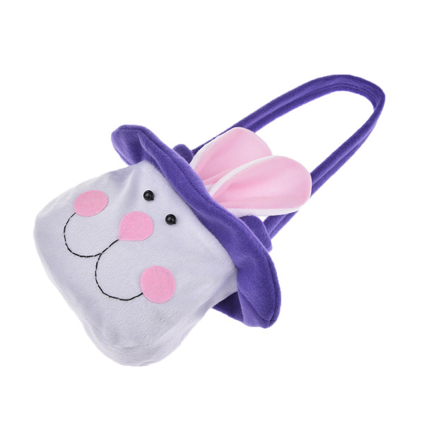 Wholesale Easter Long Ear Purple Bunny Gift Candy Bag Cute Rabbit Easter Day Candy Handbags Cartoon Portable Gift Bag Egg Bags Drop Shipping