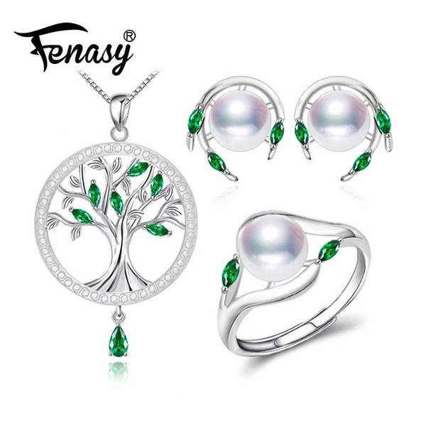 FENASY Conjuntos de Jóias de Pérolas colar de pérolas brincos para as mulheres Bohemian 925 sterling silver Esmeralda grande árvore pingente conjunto de anel