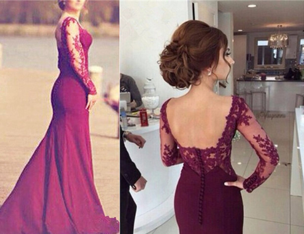 Dark Red Long Sleeve Lace Pageant Evening Dresses Women's Fashion Elegant Bridal Gown Special Occasion Prom Bridesmaid Party Dress 17LF852