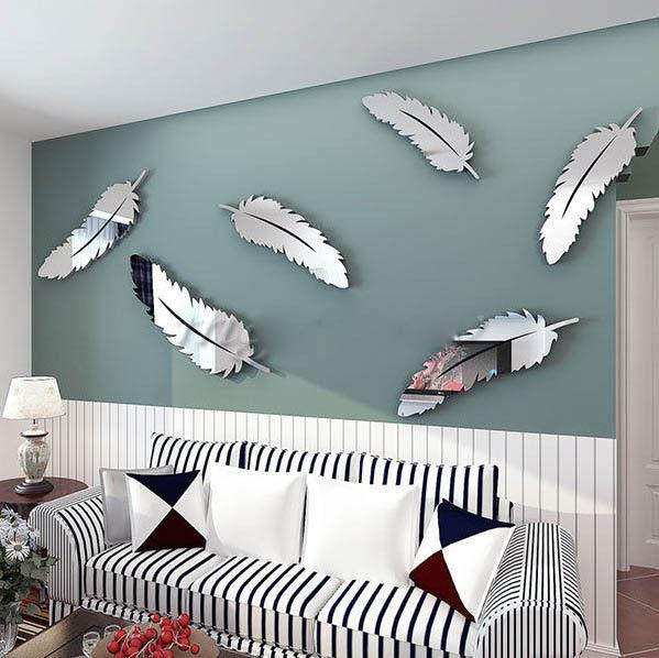 3D Mirror Surface Feather Decal Wall Stickers DIY Removable Art Mural Home Room Decor 8pieces One set Gold silver red Black