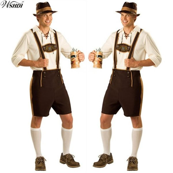 Oktoberfest Costume Lederhosen Bavarian Octoberfest German Festival Beer Halloween for Men Beer Costumes Plus Size M,L,XL,2XL
