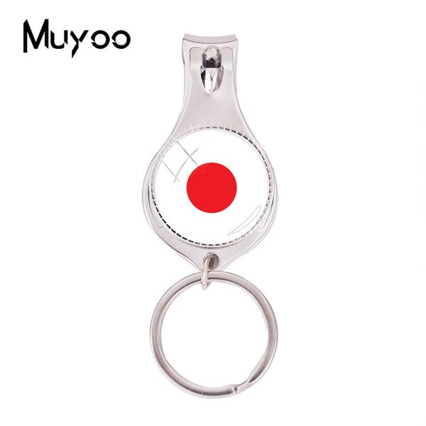 2018 Fashion Japan Flag Multifunctional Keychain Silver Photo Nail Clipper Keyring Glass Cabochon Jewelry Nail Clippers