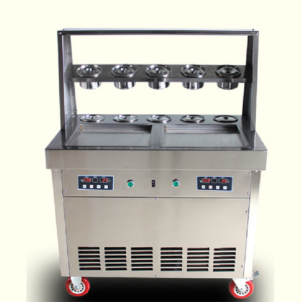 BEIJAMEI Thai fried ice cream roll machine 35 cm pan with 10 toppings commercial ice cream yogurt juice roll maker