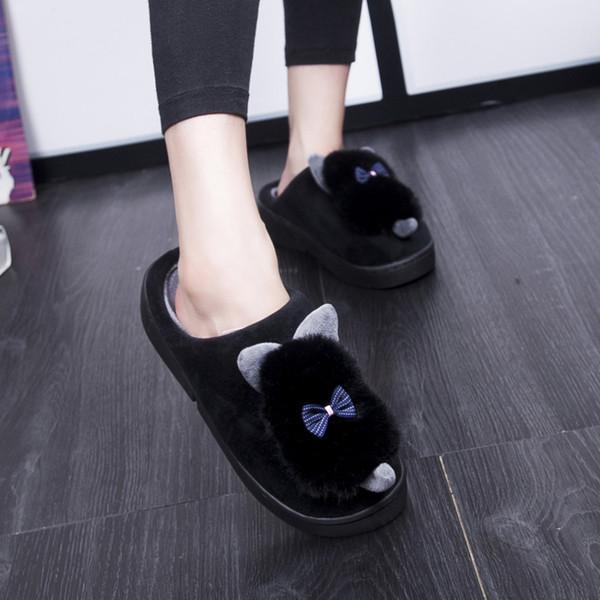 Женская обувь симпатичные волосы мяч лук тапочки крытый плюшевые теплый толстый нижний зимние тапочки zapatos mujer AF482