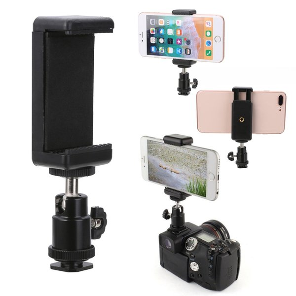 1/4 Flash Hot Shoe Adapter Cradle Ball Head Ball w/ Lock + Phone Clip Bracket Holder Mount for Nikon DSLR SLR Cell Phone