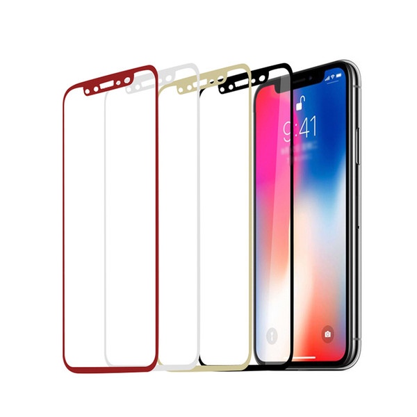 For Iphone X 8 Titanium Rim Tempered Glass Screen Protector Full Cover Screen Film 0.26mm 9H Explosionproof Retail Package