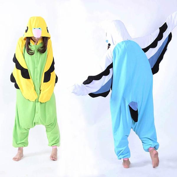 Adult Unisex Fleece Animal Parrot Onesies Novelty Pajamas Pyjamas Jumpsuit Nightwear Carnival Costumes Kigurumi cosplay