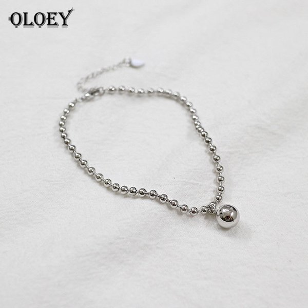 OLOEY Simple Round Bead Anklets for Ladies Real 925 Sterling Silver Ankle Bracelet on Leg Women Fine Jewelry Wholesale YMA002 C18110801
