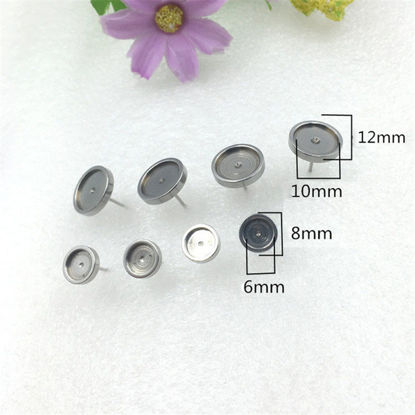 100pcs/lot Earrings Base Setting findings blank base setting studs Pins Needles Posts Gluing Pad Cabochon Cameo bezel flat back