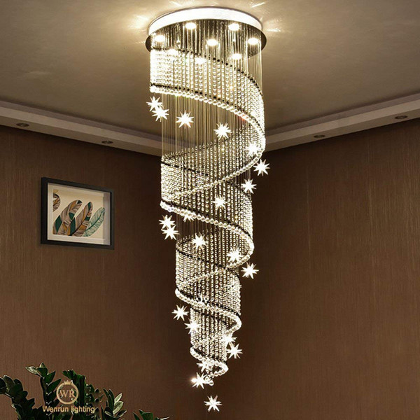 remote control LED 3 Brightness Clear Crystal chandelier Ceiling Lights Chandeliers Pendant Lights Lighting Living room lights Stair light