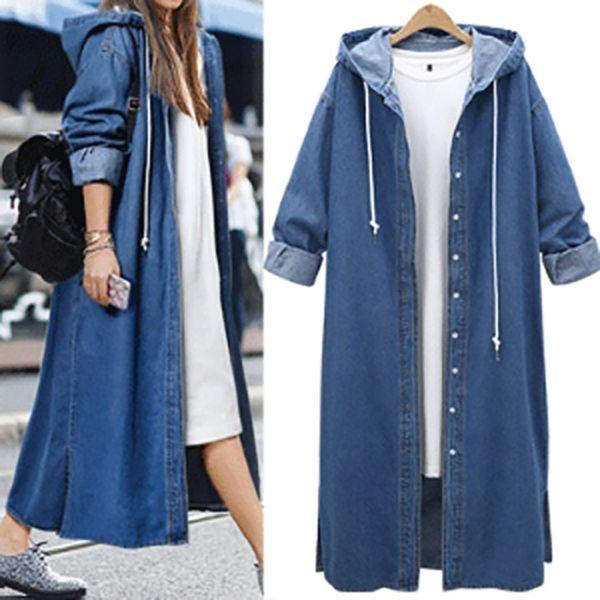 Street Wear Harajuku À Capuche Denim Trench-Coat Femmes Automne À Manches Longues Single Breasted Long manteaux