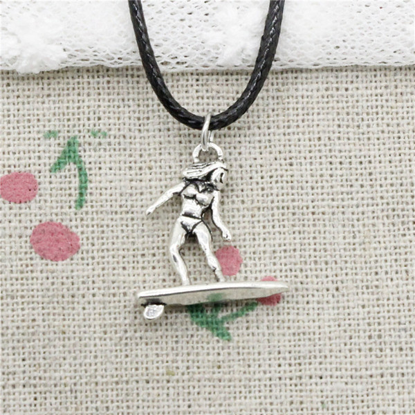 Creative Fashion Antique Silver Pendant lady female surfer surfing 21*18mm Necklace Choker Charm Black Leather Cord Handmade Jewlery