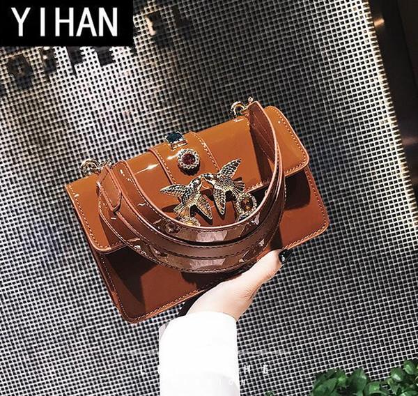 factory brand handbag exquisite leather shoulder bag women fashion color diamond Crossbody Bag Handbag decorative buckle woman swallows