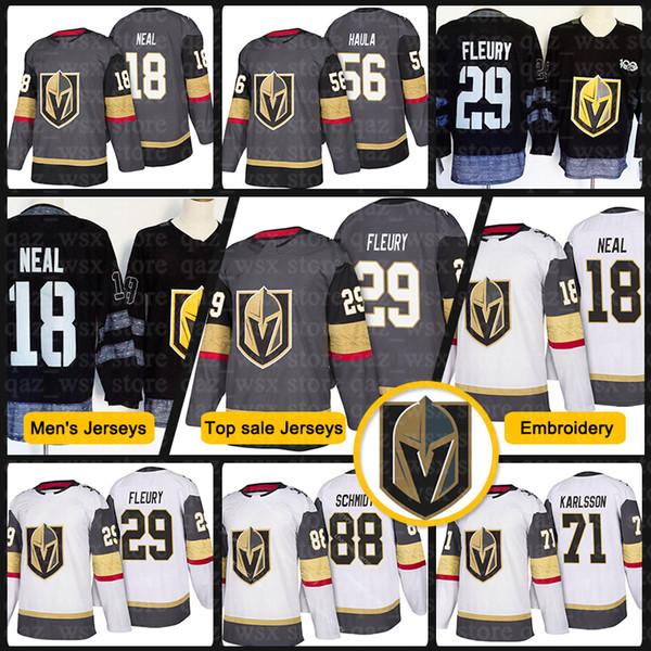 info for 7eaab d9e59 2018 New Vegas Golden Knights Jersey 29 Marc Andre Fleury 18 James Neal 56  Erik Haula 88 Nate Schmidt 67 Max Pacioretty Hockey Jerseys UK 2019 From ...