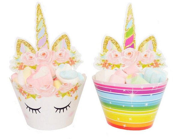 New 600pcs Cute Rainbow Unicorn Cupcake Cake Wrappers Toppers Baby Shower Kids Children Birthday Party Decorative Supplies