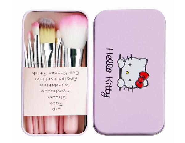 7 teile / satz Hallo Kitty Make-Up Pinsel Kit mit Rosa Eisen Fall Toiletry Schönheit Geräte Puder Lidschatten Make-Up Pinsel Nette Box Geschenk DHL