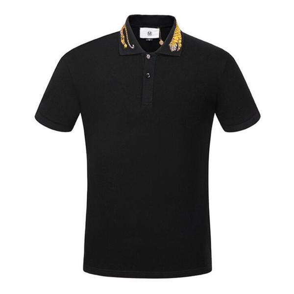 9195b3445 Moda Masculina Alta Bordado Amarelo Tiger Collar Camisa Polo Camisa Hip Hop  Skate Cotton Polos Top