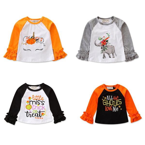 Baby Girls Halloween Shirts Pagoda Long Sleeve Ruffle Unicorn Elephant Pumpkin Witch Trick Treat Bat Letter Printed Patchwork Designer Tops