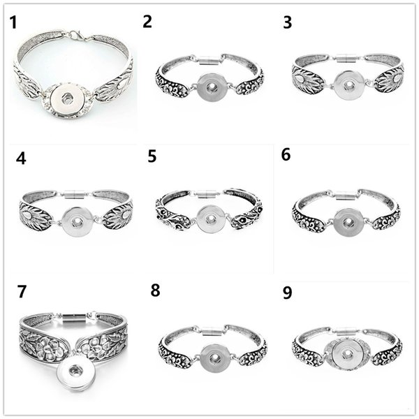 New women Fashion Charm Bracelet Retro Carved flower silver bangle 18MM Ginger Snap Button Accessories Handmade diy jewelrys cuff link hands