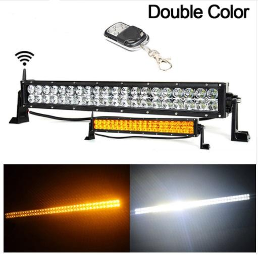 22 Inch 120w Led Light Bar Wireless Remote Control Amber White Work Driving 180w 4x4 Offroad Bar 12v Warning Flash Light Buy Led Work Light Car Work