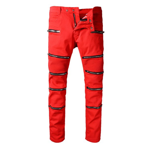 High Quality Denim Punk Biker Jeans Male 2018 Brand Mens Designer Fashion Slim Skinny Red Dirty Paint Overall Leather