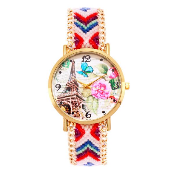 Fashion watches Women ethnic style printed Braided bracelet fabric band strap quartz wristwatches Dress casual watch Relogio Masculino Clock