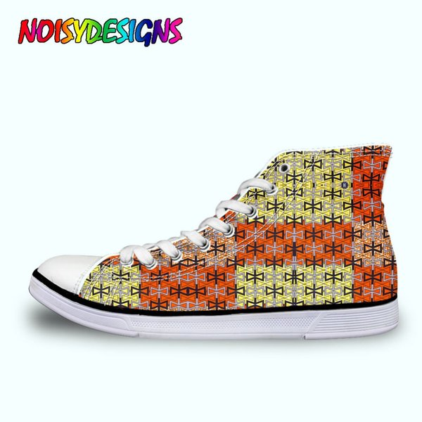 Personalized WoWomen Canvas Shoes Fashion High Top Women's Lace Up Vulcanize Shoes Cool Black African Style Patterm