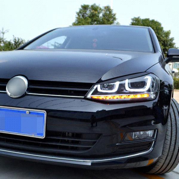 Carmonsons 2 PC / Los Scheinwerfer-Augenbraue Eyelids ABS Chrom-Ordnungs-Abdeckung für Volkswagen VW Golf 7 MK7 GTI R Rline Car Styling