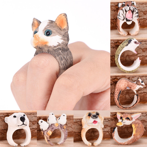 New Hot Sales New Designs Cute Cartoon Animal Bend Ring Funny Cat Dog Rabbit Bird Fox 3D Cuff Open Adjusted Animal Rings