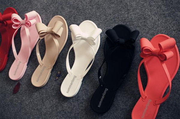 Wholesale 2018 new summer clip bow cool slippers women Europe and the United States beach shoes solid color flip flops