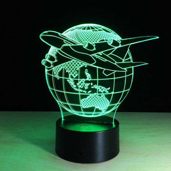 7 Colors Changing Touch Adjustable USB Home Lighting Aircraft Globe Earth 3D Night Light Table Lamp Bedroom Led Light
