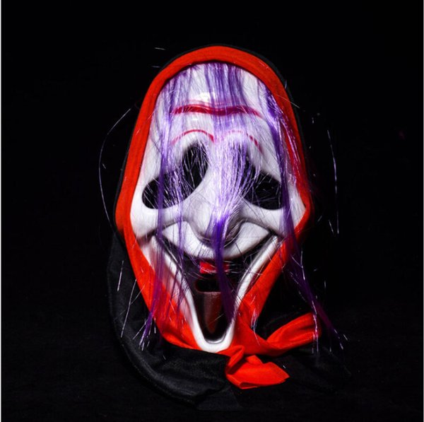 Men Halloween Party Purple Hair Full Face Volto Masks Birthday April Fools' Day Performance Show Joke Decoration Masks Screaming Masks