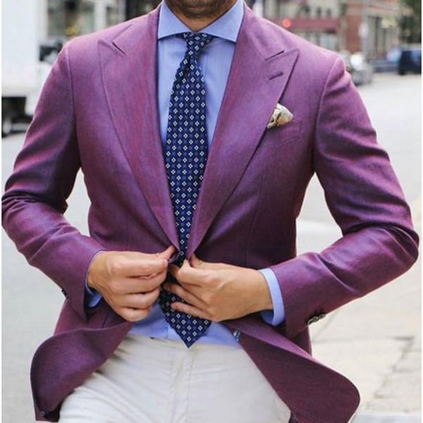 MixMatch 2017 Elegante Roxo Dos Homens Terno Blazer Com Calças Brancas de Casamento Personalizado mens ternos Smoking Masculino (Jaqueta + Calça)