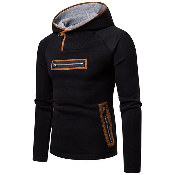 IEF.G.S Men Winter Outwear Coat Fashion Novel Sweatshirt Slim Fit Men Hoodies Zipper Streetwear Cotton Patchwork Hip Hop Clothes