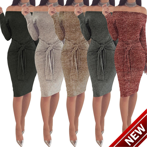 Goods In Stock ! Autumn And Winter Sexy Waist Bandage One Word Lead Suit-dress Dress clothing ladies casual dresses for 2015 woman white