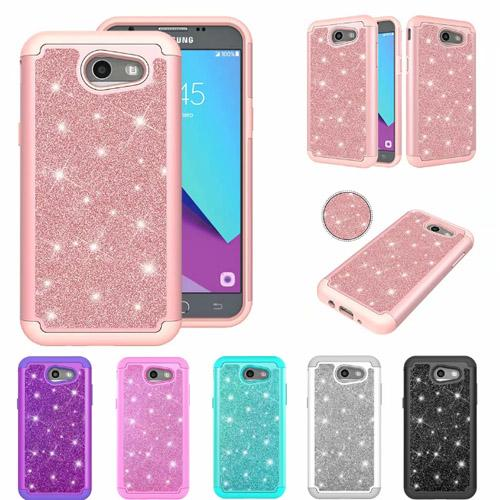 hybrid layer 2 in 1 Chrome rubber rugged combo Bling glitter case cover for Samsung Galaxy J3 Prime J7 Prime