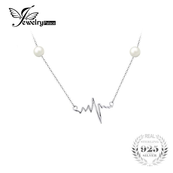 JewelryPalace Heart Waves Round 5mm Freshwater Cultured Pearl 45cm Box Chain Choker Strand Necklace 925 Sterling Silver
