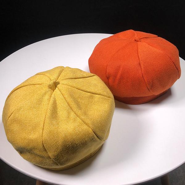 HT1898 2018 Nuovi berretti Solid Plain Autumn Winter Hats for Women Casual Cotton Beret Hats Women Retro Painter Artist Ladies