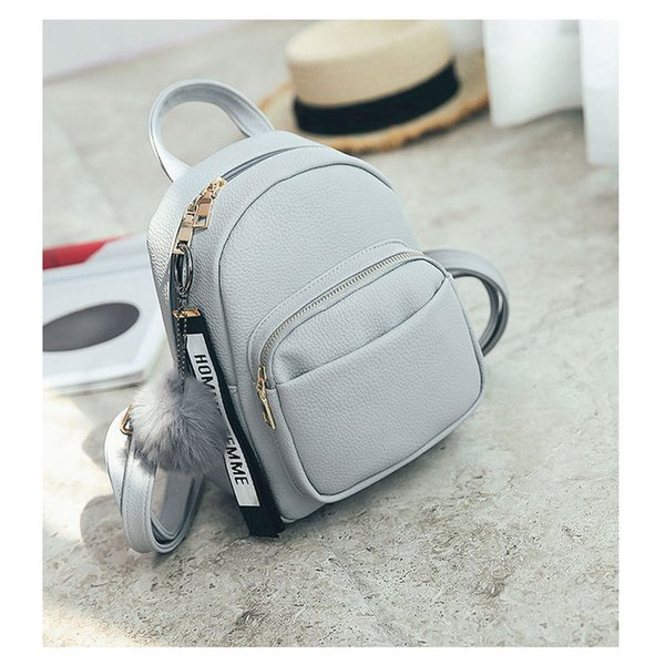 Wobag Mini Women Backpacks Soft PU Leather Student Fuzzy Ball Pendant Shoulder School Bags Female Small Travel Rucksack Gray