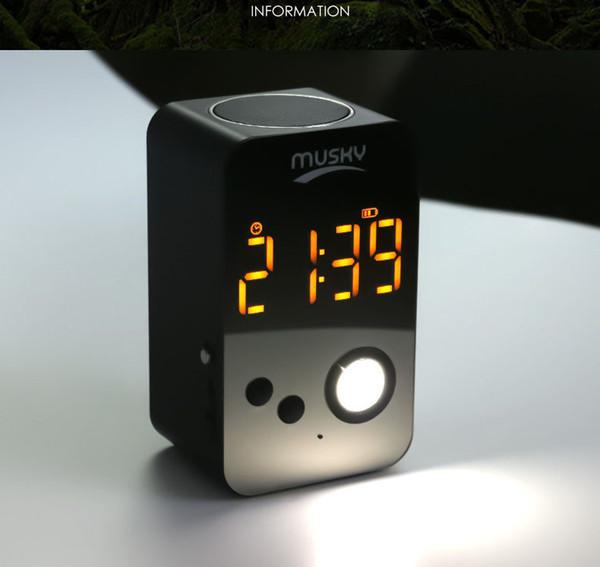 Venta caliente Touch LED Night Light Clock System MP3 FM Radio con Aux IN tarjeta SD HIFI FM Speaker Altavoz portátil