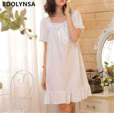 Brand Sleep Lounge Women Sleepwear Cotton Nightgowns Sexy Indoor Clothing Home Dress White Nightdress Plus Size #P3