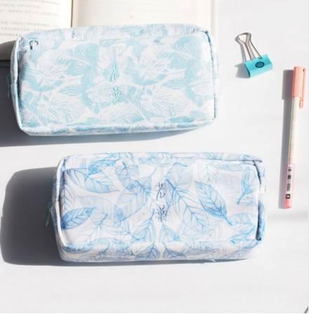 Green Leaves Pencil Case Big Capacity Romantic 2 Zipper Double Layers School Pencil Cases for Girls Stationery Pen Bag
