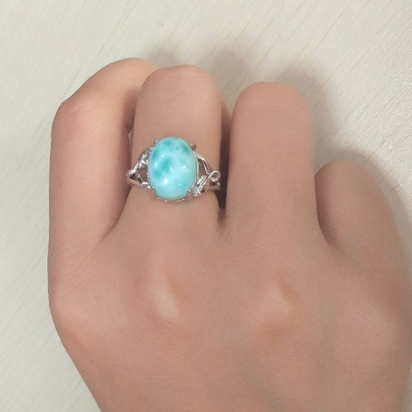 Big Stone Larimar Rings Woman Ladies Engagement Rings with Natural Larimar Gemstone, 925 Sterling Silver Jewelry Gift for Her Y1892607