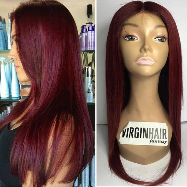 9A Grade Burgundy Full Lace Wigs Malaysian Virgin Human Hair Silky Straight Gluelss Lace Front Wigs for Black Woman Free Shippiing