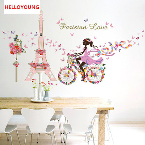 DIY Mural Flower Fairy Girl Cycling Lron Tower Stickers Waterproof Bedroom Background Wall Art Home Decor Wall Sticker