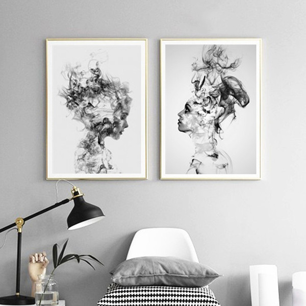 Acheter Moderne Nordique Noir Et Blanc Sur Toile Peinture Impression Sur Mur Affiche Fille Abstraite Mur Images Art Pour Chambre Salon De