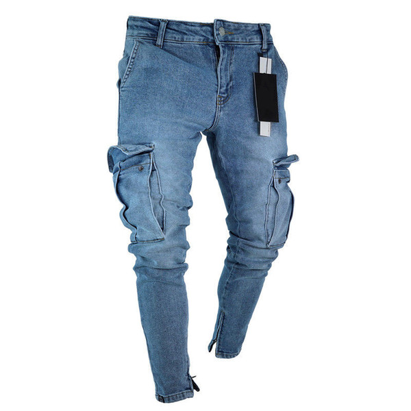 Mens Jeans Denim Pocket Pants Summer Autumn Thin Slim Regular Fit Straight Jeans Elasticity Stretchy Male