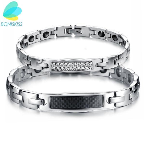 Boniskiss Carbon Fiber Jewelry Lovers' Magnetic Stone Bracelet Healing Stainless Steel Women Men Bracelets Health Care Gift